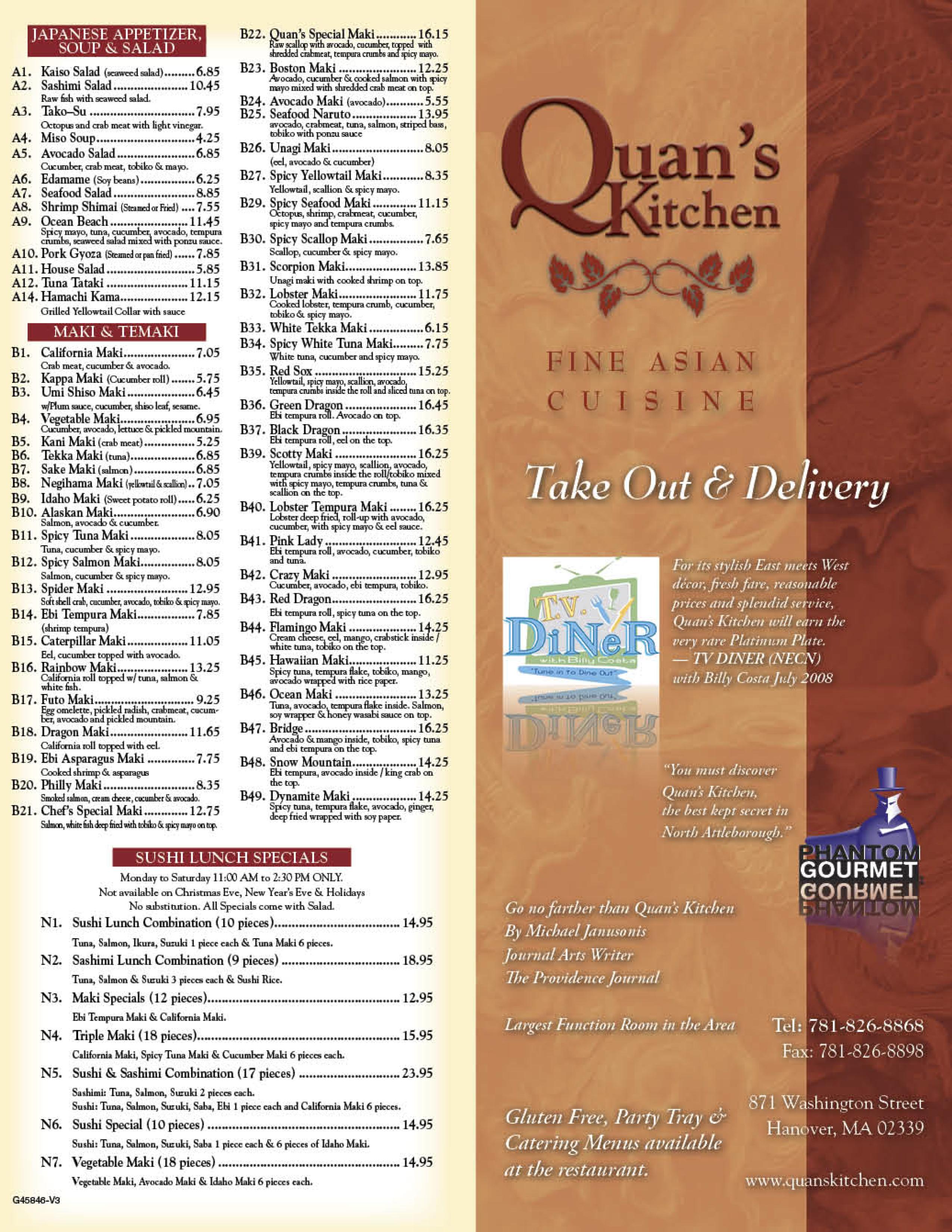 Quans Kitchen Fine Asian Hanover Take Out Menu