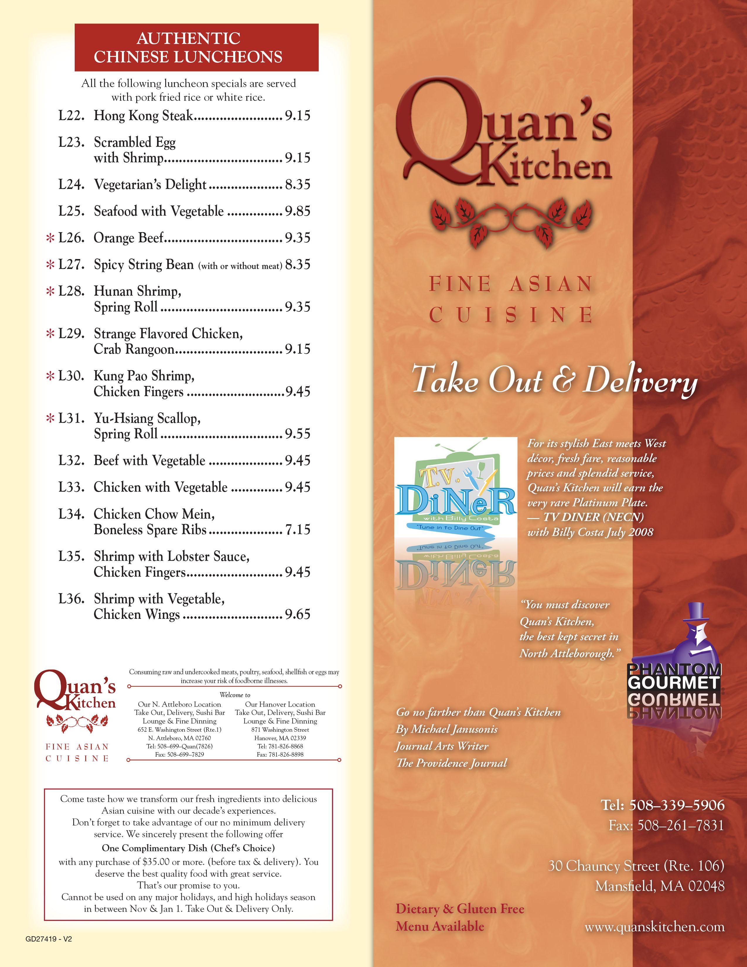 Quans Kitchen Hanover Ma | Quans Kitchen Fine Asian Mansfield Take Out Menu